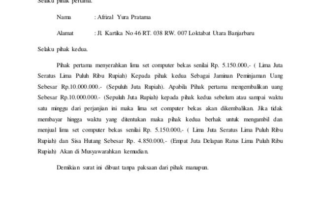 Contoh Surat Perjanjian Hutang Piutang Dengan Koperasi Cute766