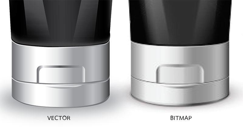 เปรียบเทียบคุณสมบัติของภาพลักษณะ Vector และ Bitmap เมื่อขยายใหญ่ในอัตราส่วนที่เท่ากัน