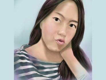 ผลงานวาดภาพผู้หญิงเหมือนด้วยโปรแกรม Photoshop เทคนิคการเพ้นท์สี