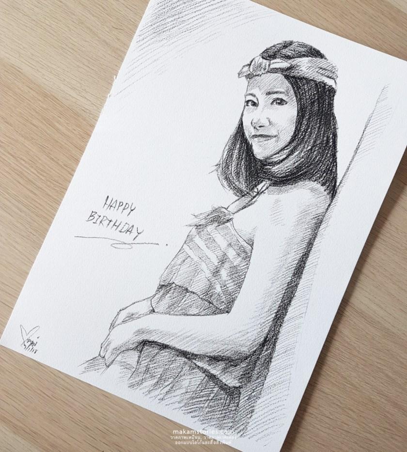 ผลงานวาดภาพเหมือน Drawing ด้วยดินสอ ภาพวาดลายเส้นดินสอ ภาพวาดของขวัญวันเกิด