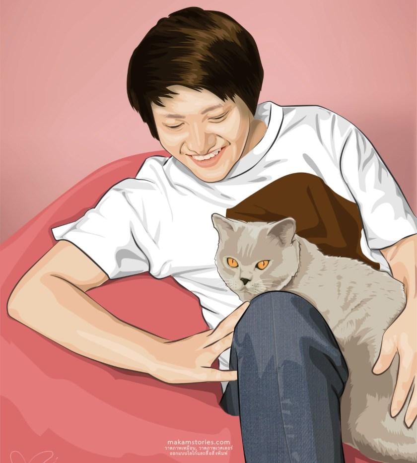 ภาพวาด Portrait Vector วาดด้วยโปรแกรม Affinity Designer ภาพวาดคนเหมือนสไตล์เวคเตอร์