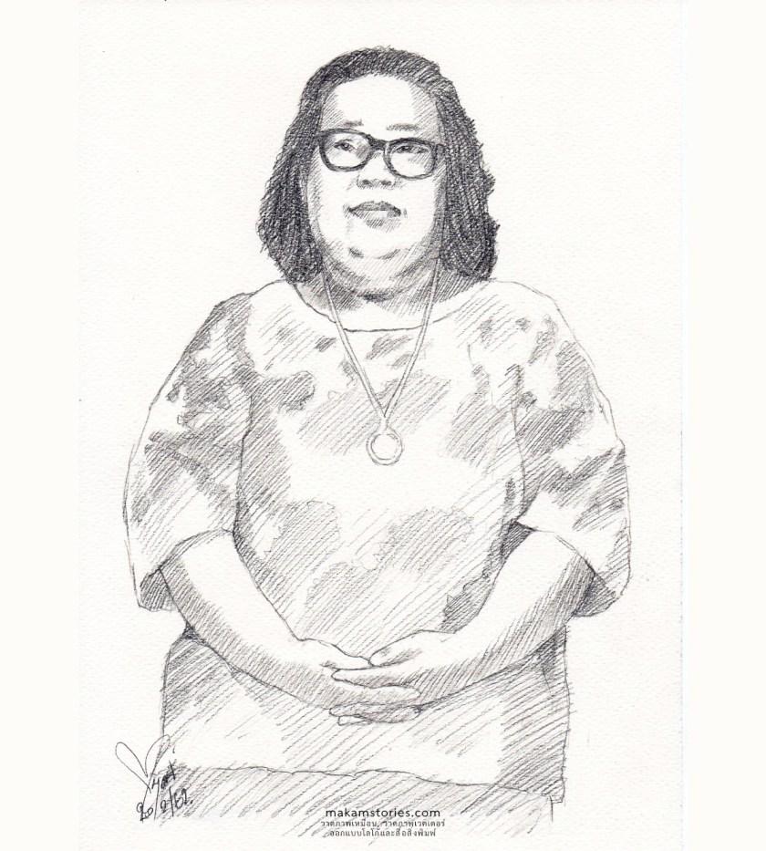 วาดภาพเหมือน Drawing สไตล์ลายเส้นดินสอ ภาพเหมือนผู้หญิง