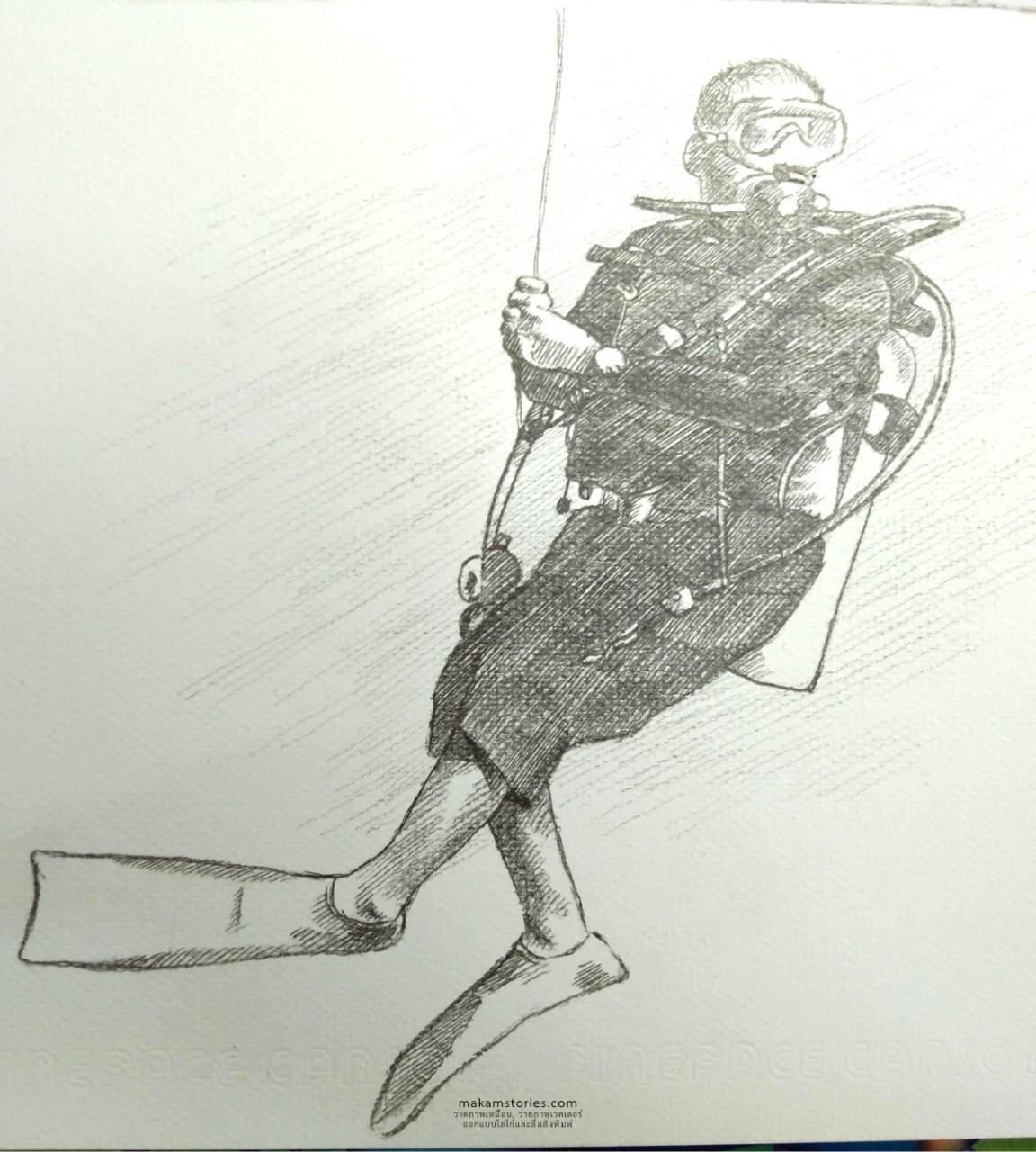 ภาพวาดลายเส้นบุคคลผู้ชาย ภาพวาดลายเส้นดินสอนักดำน้ำ