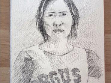 ภาพวาดลายเส้น ภาพเหมือนผู้หญิง ภาพวาดดรออิ้งขนาดกระดาษ A4