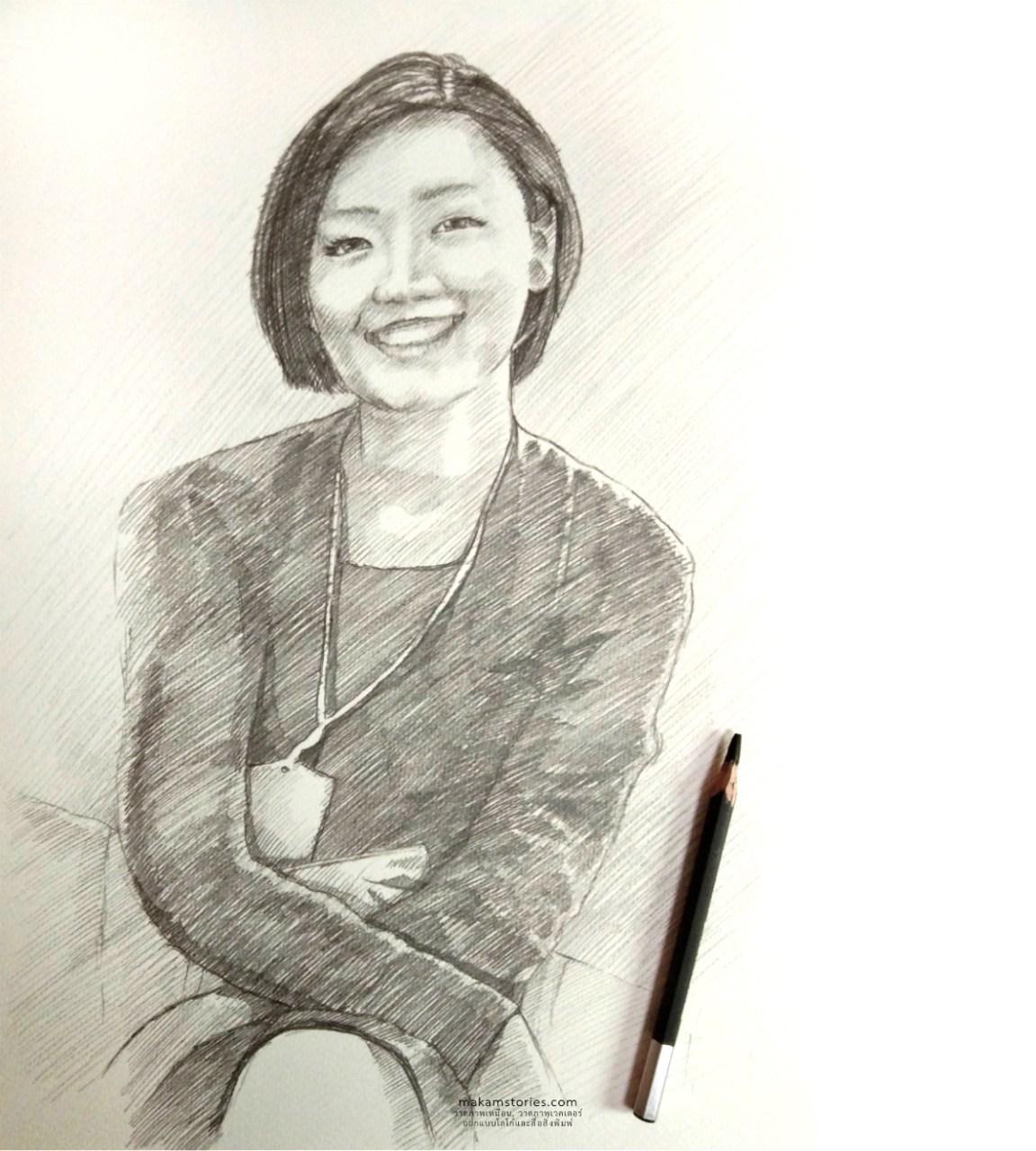ภาพวาดลายเส้น ภาพเหมือนผู้หญิง Drawing Portrait