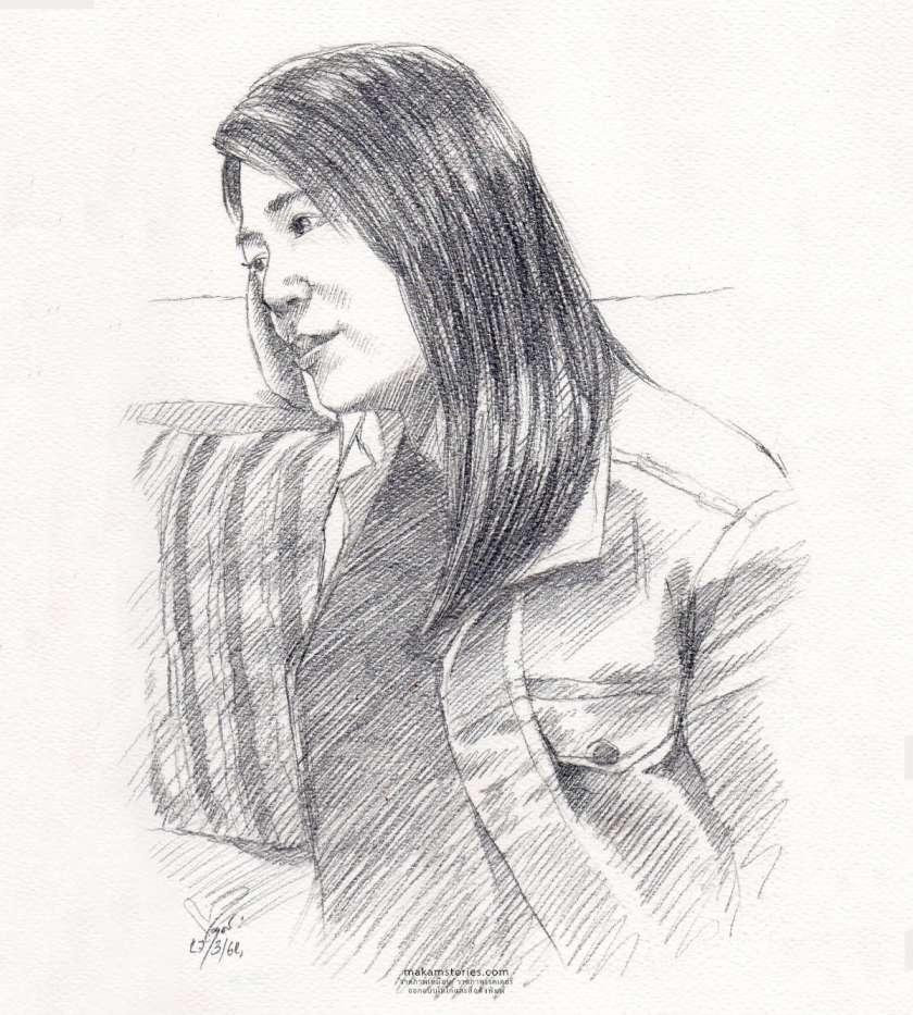 วาดภาพเหมือนลายเส้นดินสอผู้หญิง (Drawing Portrait)