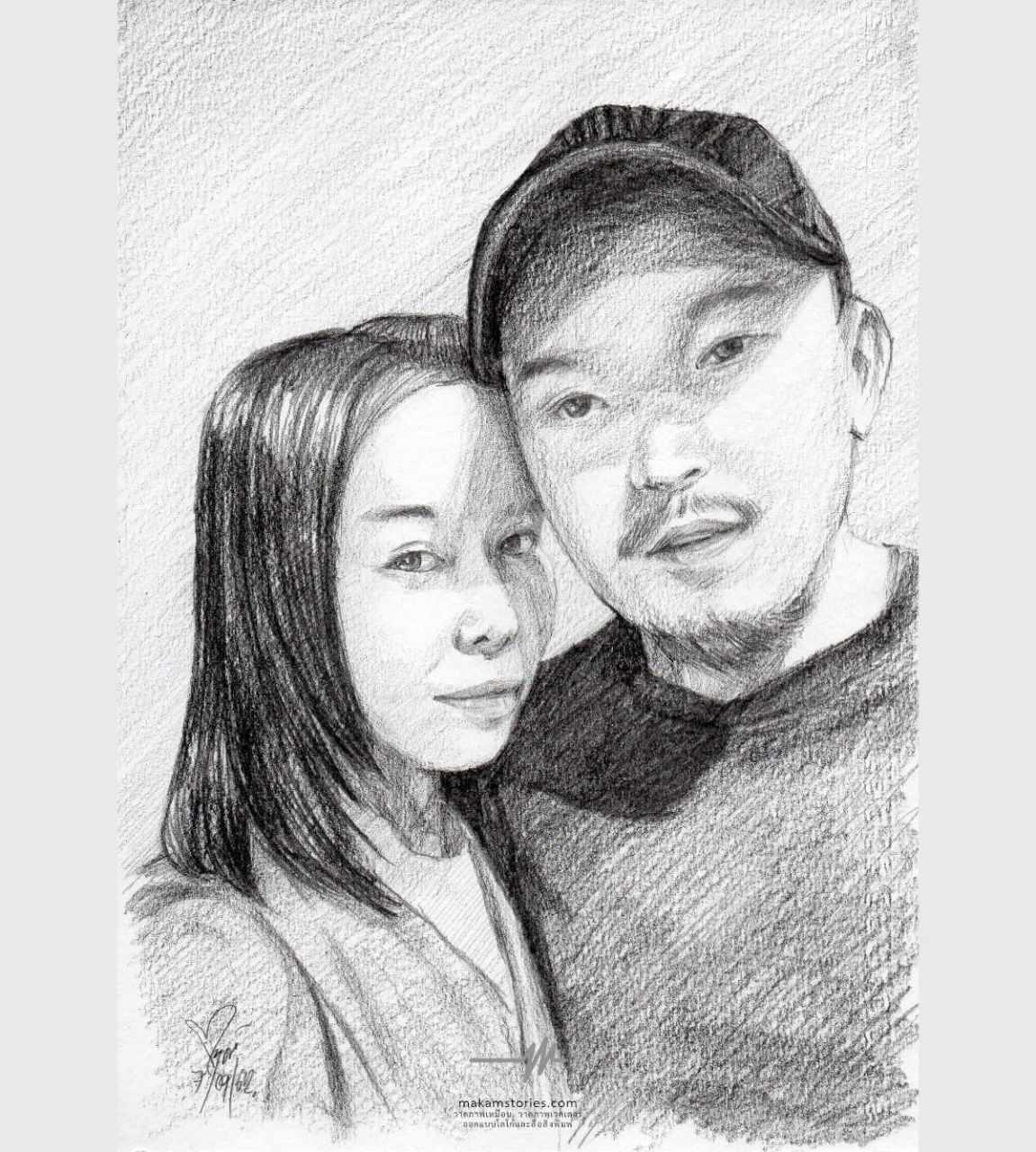 วาดภาพเหมือนลายเส้นดินสอ ภาพเหมือนคู่รักชายหญิง ภาพเหมือนสำหรับของขวัญวันเกิด
