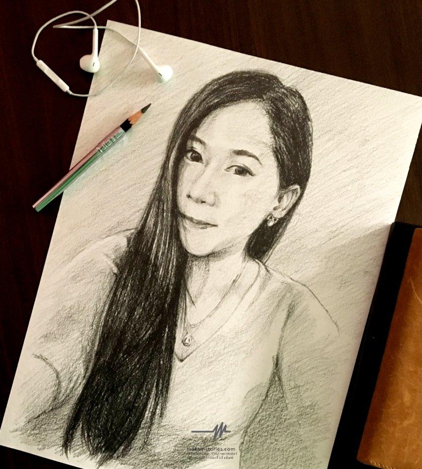 วาดภาพเหมือนลายเส้น ภาพเหมือนดรออิ้งที่ระลึก ภาพเหมือนผู้หญิง Drawing Portrait