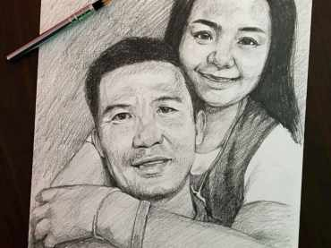 วาดภาพเหมือนลายเส้น ภาพเหมือนคู่รัก ภาพวาดลายเส้นดินสอ
