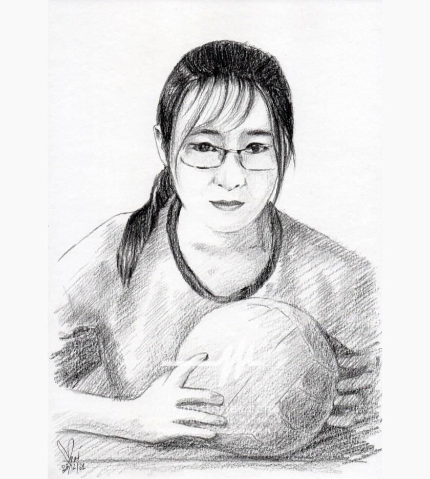 ภาพเหมือนลายเส้นดินสอ วาดภาพเหมือนผู้หญิง ภาพวาดดรออิ้ง (Drawing Portrait)