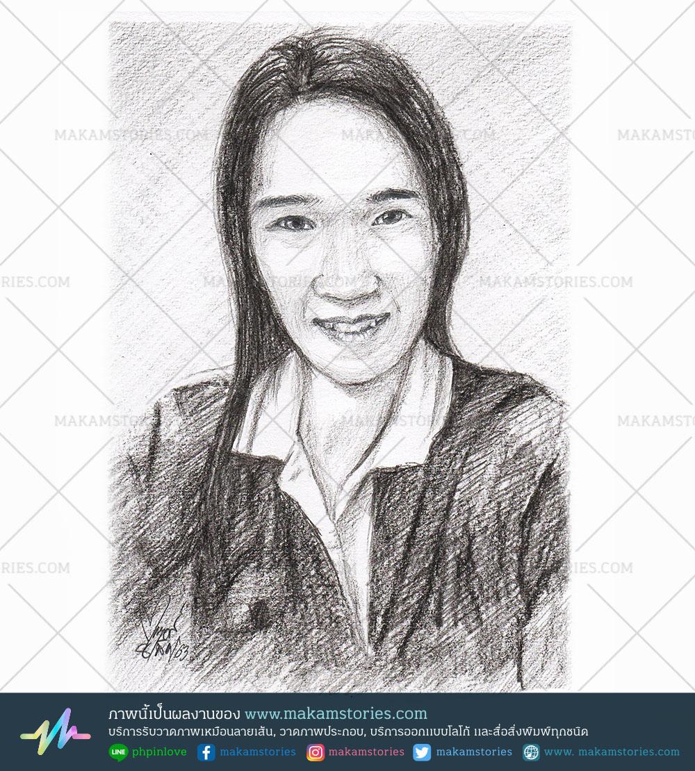 วาดภาพเหมือนลายเส้นดินสอ วาดภาพลายเส้น Drawing Portrait