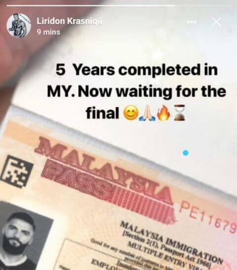 liridon passport Liridon Krasniqi Kembali Ke Malaysia, Tayang Visa Sah Malaysia