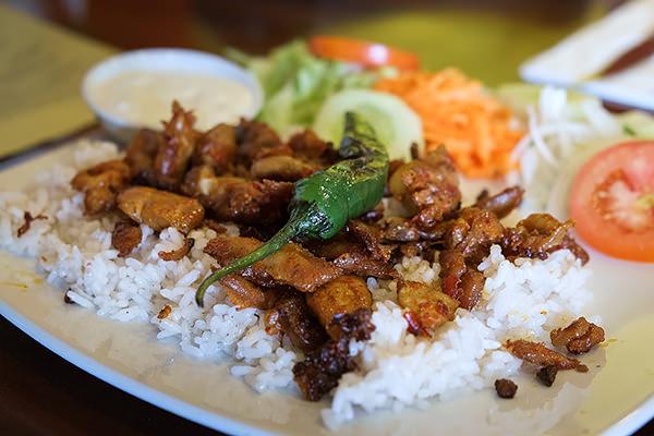 chicken shawarma on rice