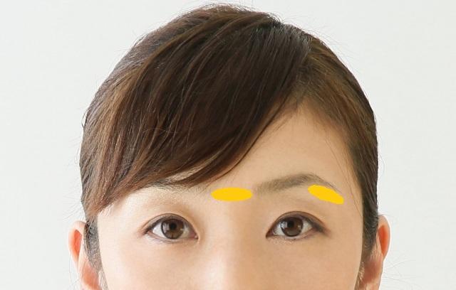 眉毛を剃る部分
