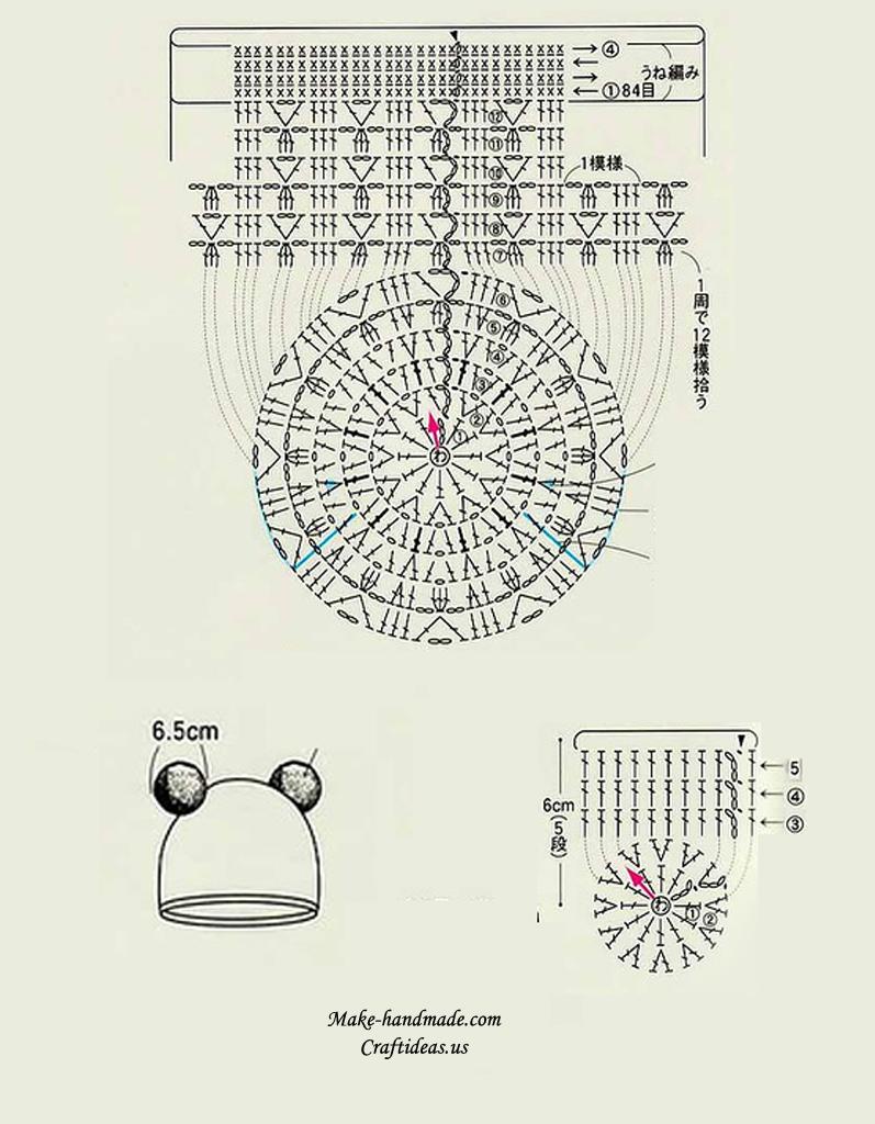 medium resolution of crochet animal hat diagram