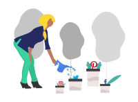 Drawing of a woman watering plants that look like social media network logos.