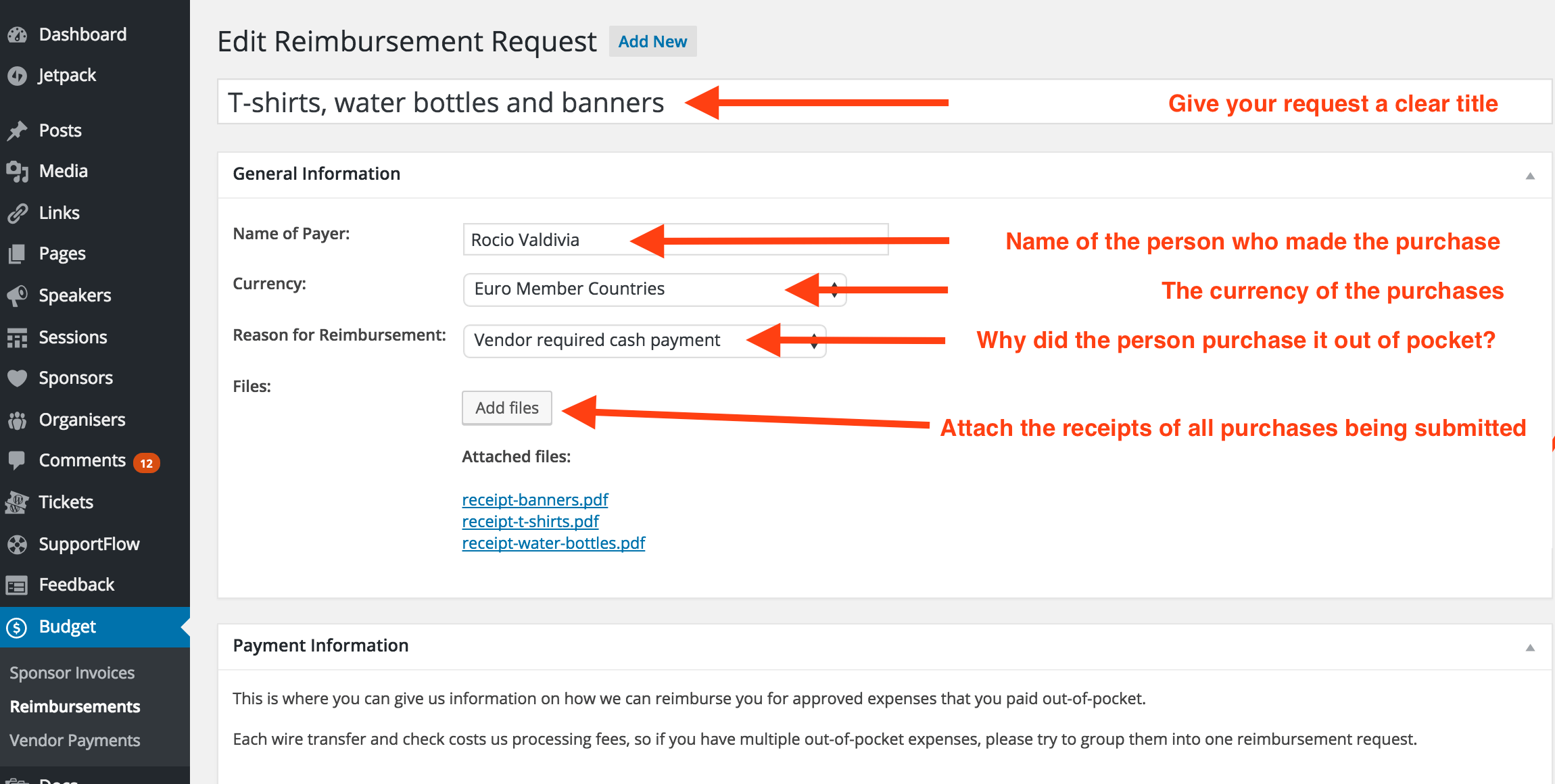 Reimbursement Requests Step 3 Purchase Details