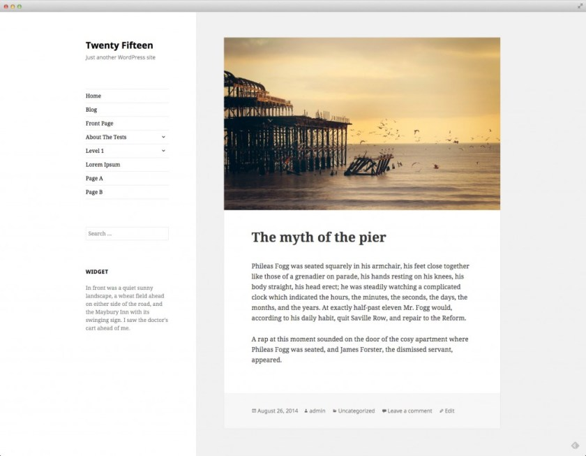 first look at wordpress theme twenty fifteen