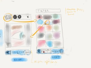 Rough Sketch Wireframe of Mobile Image Selection