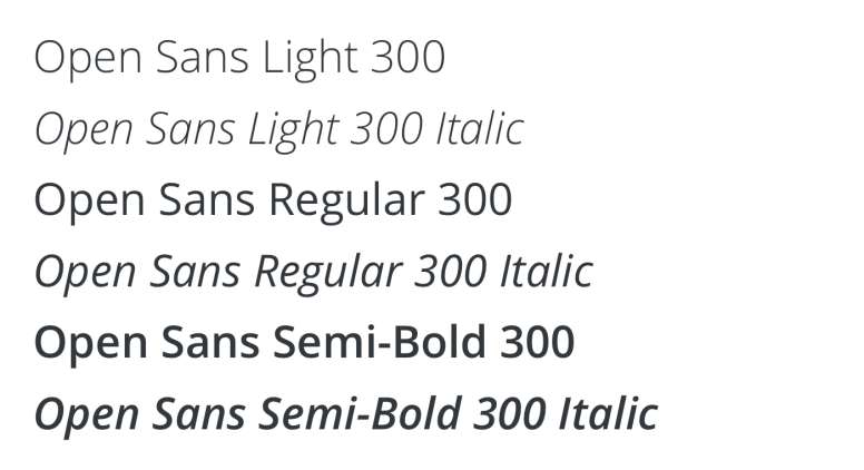 Open Sans Weights & Styles