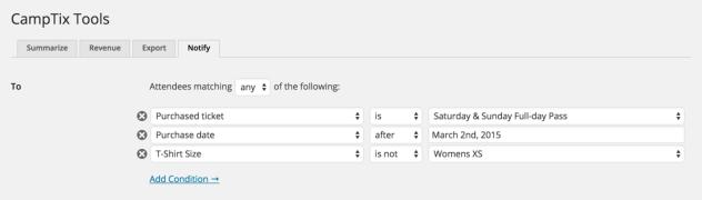 CampTix Notify Segments Screenshot