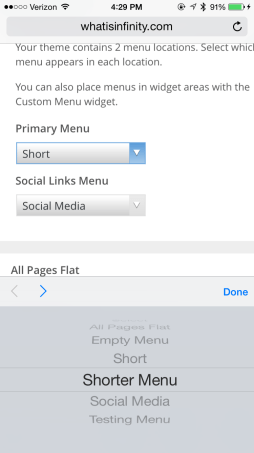 "Change the Primary Menu to ""Shorter Menu"" and tap ""Done."""