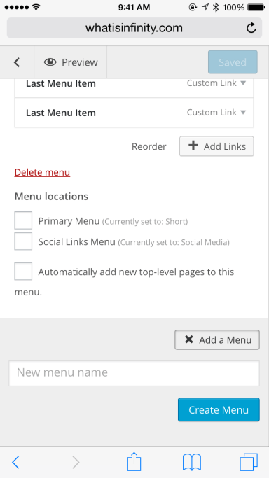 Scroll down and then can see a form to enter a new menu name.