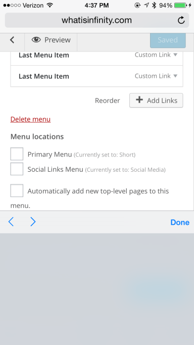 """This is what I saw after creating a menu, but I think I tapped something I shouldn't have and the blank keyboard seems like an iOS bug, so I tap """"Done"""" and try again."""