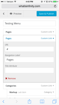 """Tap """"Pages"""" since it's a duplicate. Tap """"x Remove"""" and it gets rid of the menu item."""