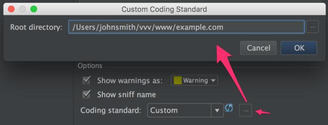 PhpStorm select PHPCS Custom