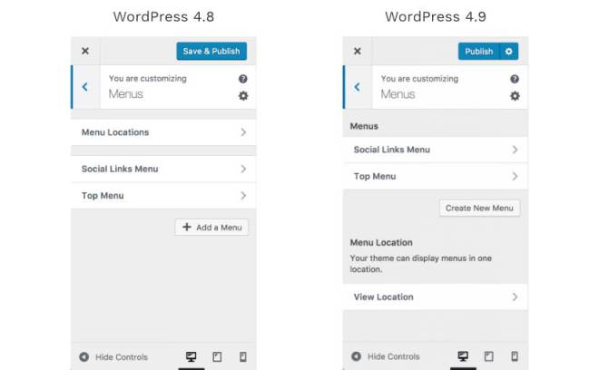 WordPress 4.9 Menu Updates