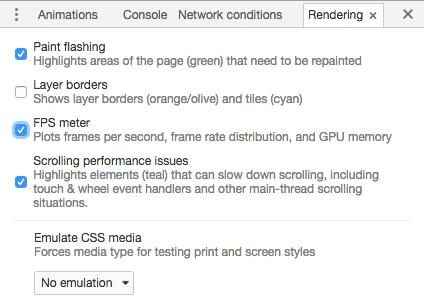 Google Chrome rendering rettings