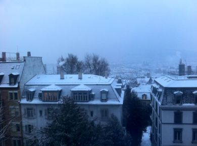 Zurich in the snow, from our apartment