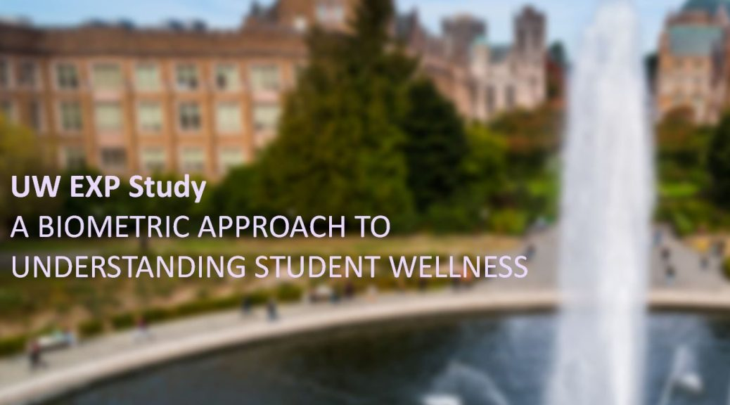 Picture of the UW campus and fountain with the words UW EXP Study: A biometric approach to understanding student wellness