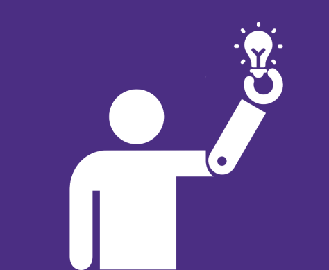 Create logo (person with prosthetic arm holding a lightbulb)