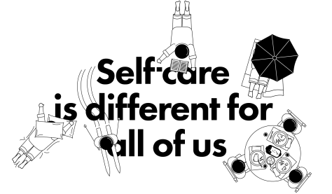 "Image showing the words ""Self care is different for all of us"" and featuring pictures of someone napping, someone reading, three people eating together, someone relaxing under an umbrella and someone skiing"