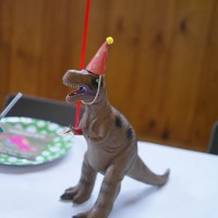 When a dinosaur comes to a party, it wears its best hat