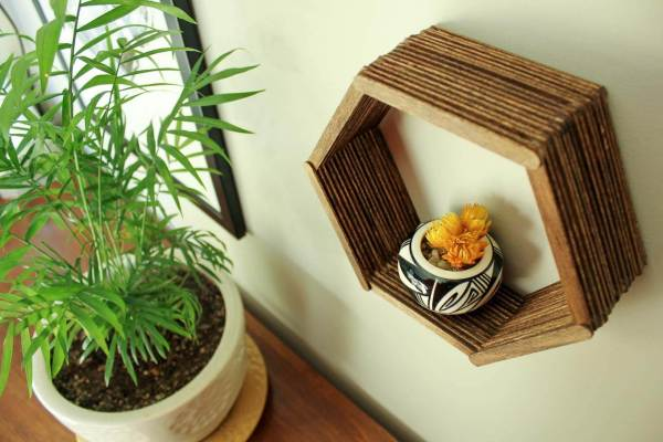 Popsicle Stick Hexagon Shelf - Easy Diy Wall Art