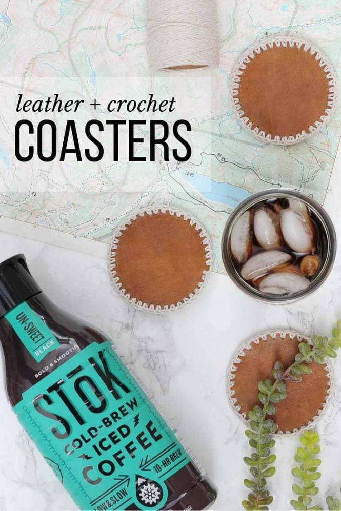 These DIY leather coasters with crochet edging can be made in less than an hour and make a perfect DIY gift for him. Make them for Christmas, Father's Day or just for yourself! #SToKCoffee #cbias #ad