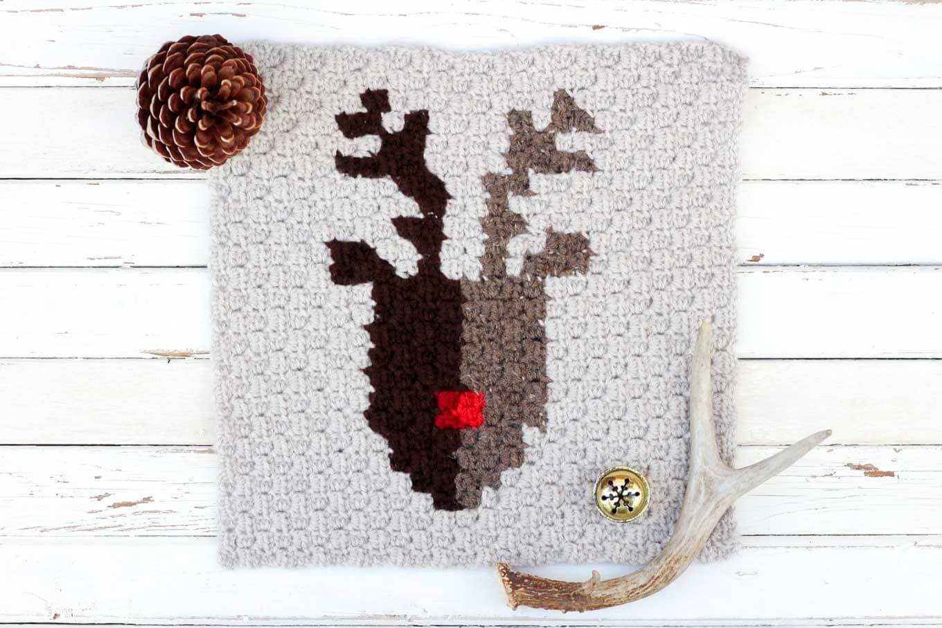 crochet christmas chair covers baby girl nordic super scarf free pattern make do crew this for a corner to reindeer graph is perfect as part of
