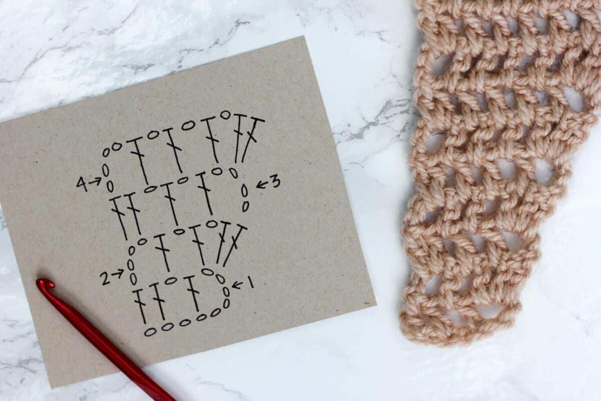 crochet scarf pattern diagram sony xplod 100db wiring free caron cakes desert winds triangle