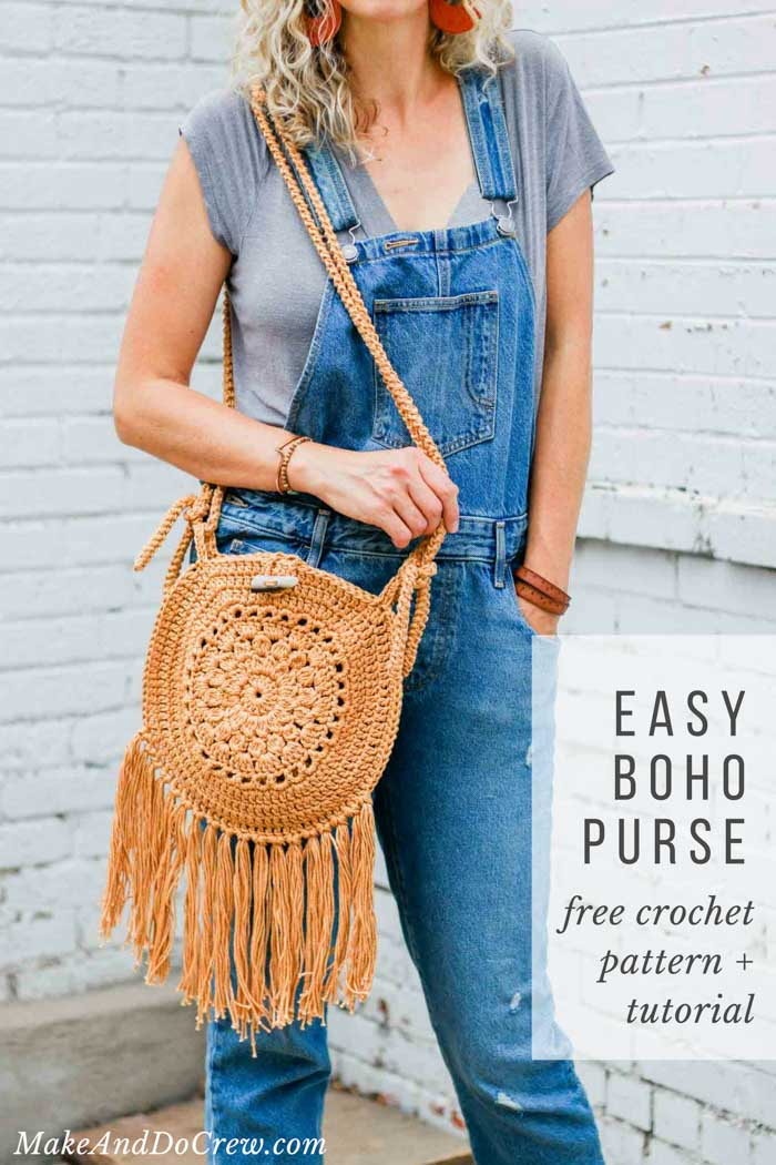 5131755d6 Make this easy crochet boho bag from two circles. Follow the free pattern  or video