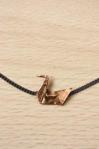 Origami Metal Swan Necklace