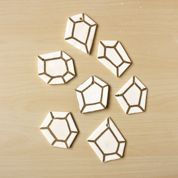 Geometric Clay Christmas Decorations