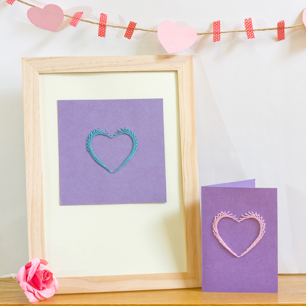 Paper Stitched Valentines Heart
