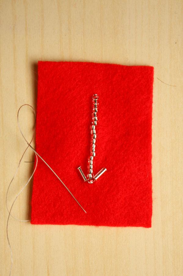 Valentines DIY bead embroidered arrow