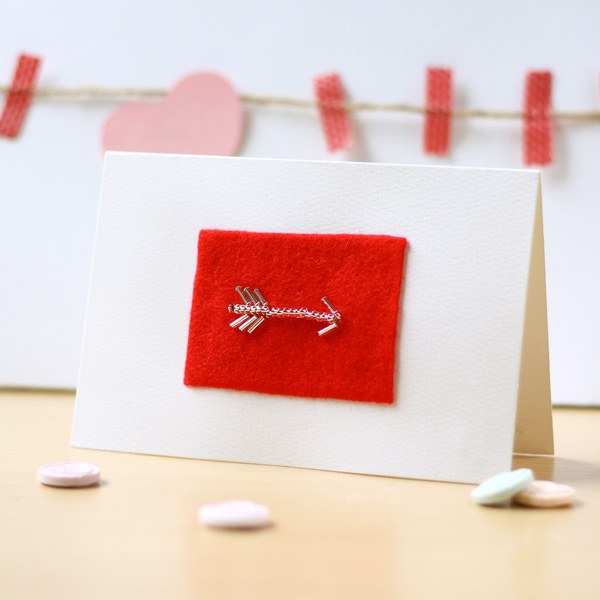 DIY Valentines Card Bead Embroidery Arrow