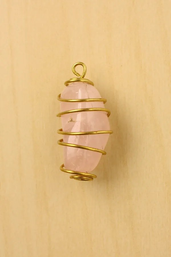 Wire Wrapped Stone - Spiral Cage-19