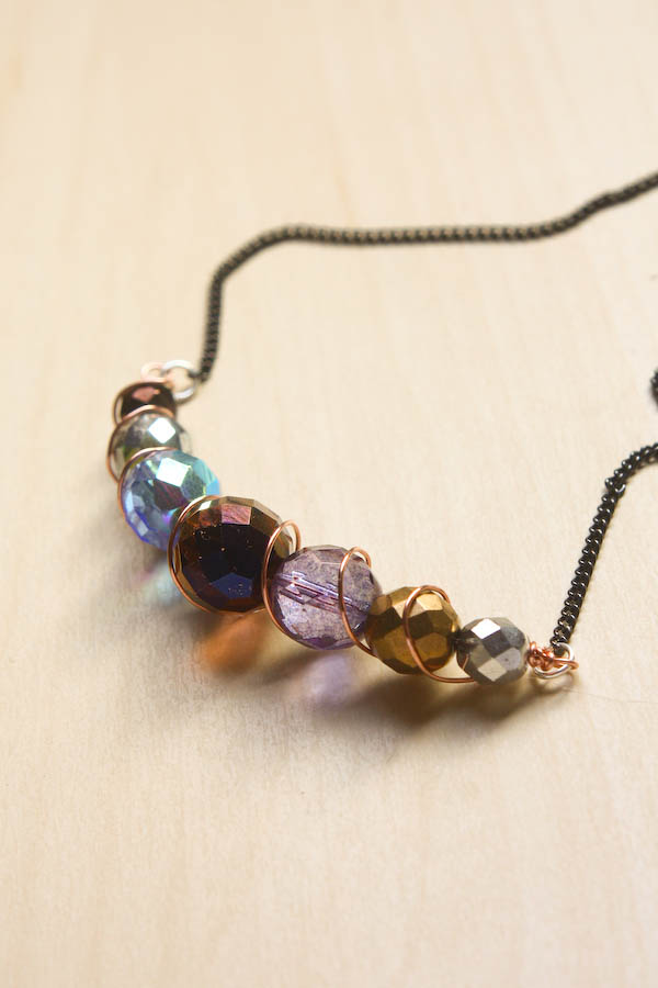 Spiral Wire and Bead Necklace-14
