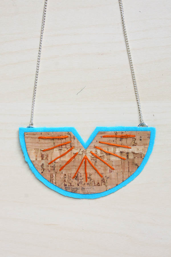 Cork Fabric Statement Necklace DIY Tutorial by Make and Fable